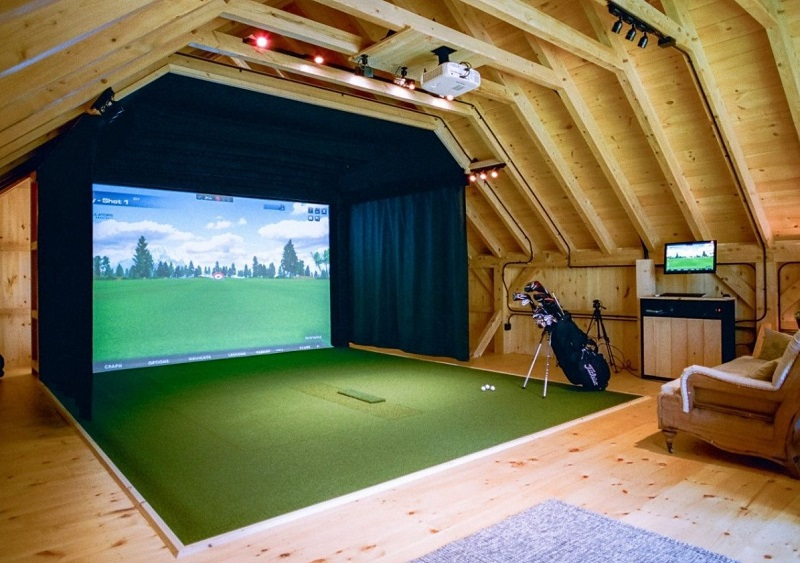 golf simulator projector in garage